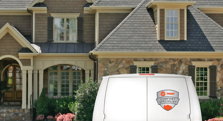 Home with a Trane van in front